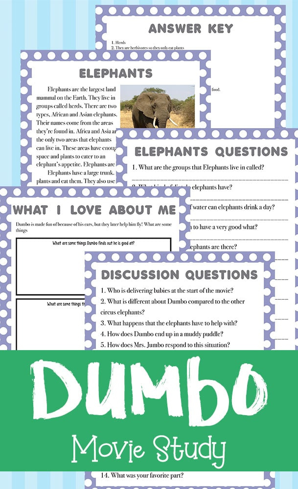 This Dumbo movie study is based on the original Disney classic. Kids can answer questions about the movie, read about elephants and answer questions about them, plus complete a critical thinking/reflection page about themselves. Get yours FREE today! #moviestudy #hsgiveaways #Dumbo #homeschoolers