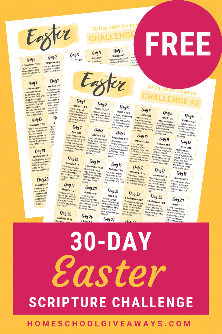 Celebrate the importance of Easter with this FREE 30-day Easter Scripture Challenge! #ChristCenteredEaster #Easter #Devotion #ScriptureWriting #PrayerJournal