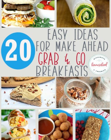 Whether you are rushing out the door or you just want to simplify breakfast with some grab and go options, we've got you covered. These twenty breakfasts are easily made, ready to take on the go and tasty too! #recipes #breakfast #onthegobreakfast #hsgiveaways
