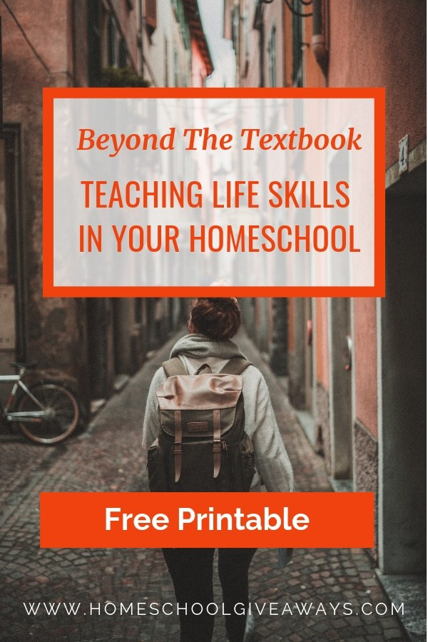 Image of girl with backpack walking alone down European street with text overlay 'Beyond the Textbook: Teaching Life Skills In Your Homeschool'.