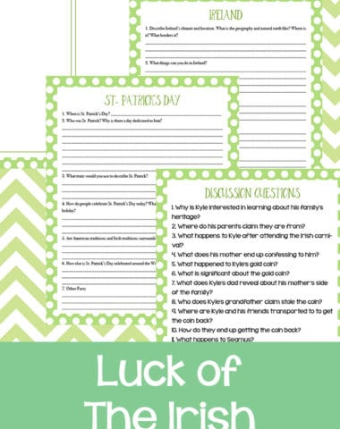 This Luck of the Irish movie study includes one page of discussion questions, a page to explore their heritage, a page with question prompts for St. Patrick's Day and a page of questions about Ireland. #moviestudy #Ireland #Irish #hsgiveaways #StPatricksDay #homeschoolers