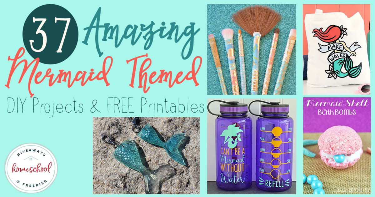 """Do you have a Mermaid fan in your house? They are sure to love these DIY projects and FREE Printables all about their beloved """"creatures"""" of the sea. #mermaids #sealife #hsgiveaways #homeschoolers #DIY"""