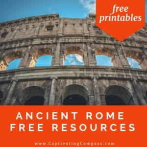image of Colosseum in Rome, Italy with text overlay Ancient Rome FREE Resources.