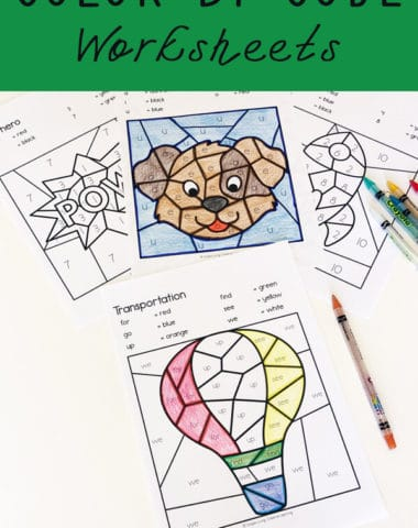 These FREE Color By Code Worksheets are a fun way to practice learning letters of the alphabet, sight words or numbers while working on fine motor skills.