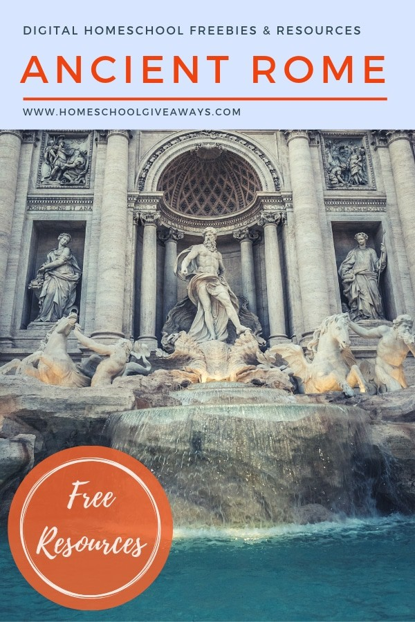 image of Trevi Fountain Rome italy with Text Overlay: Study Ancient Rome with Resources & Freebies from www.HomeschoolGiveaways.com