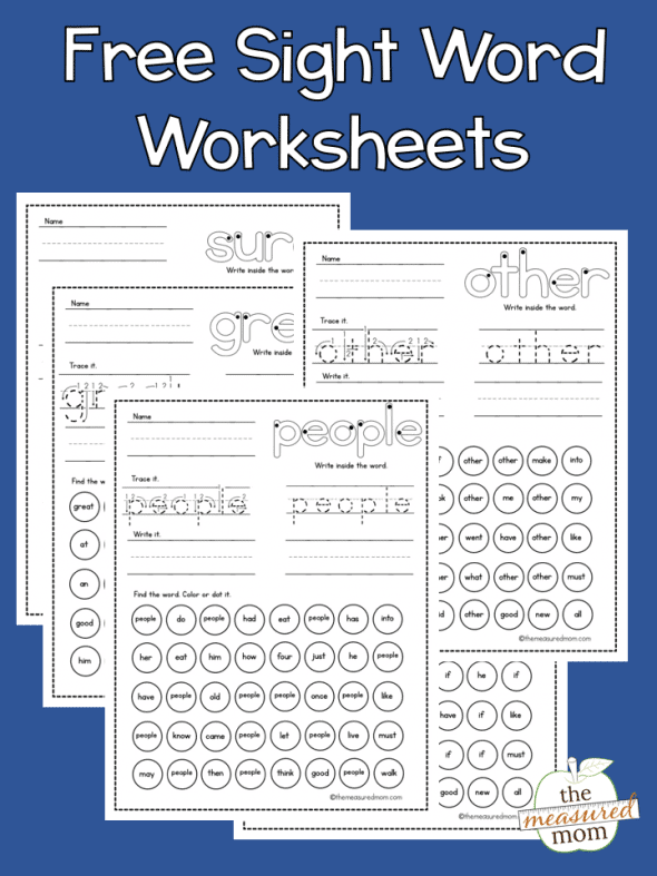 FREE Printable Sight Word Worksheets - Homeschool Giveaways
