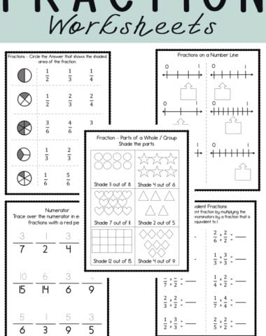 These free fraction printables and worksheets are a great way to help your kids understand fractions.