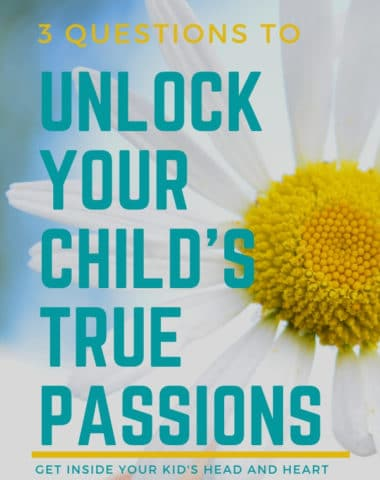 image of flower with text overlay 3 Questions to Unlock Your Child's True Passions from www.HomeschoolGiveaways.com