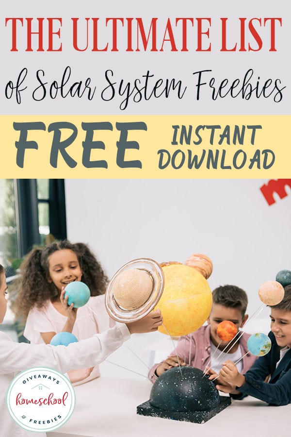 If you are learning about the solar system in your homeschool you will love this Ultimate List of Solar System Freebies with FREE Instant Downloads #solarsystemfreebies #solarsystemunitstudy