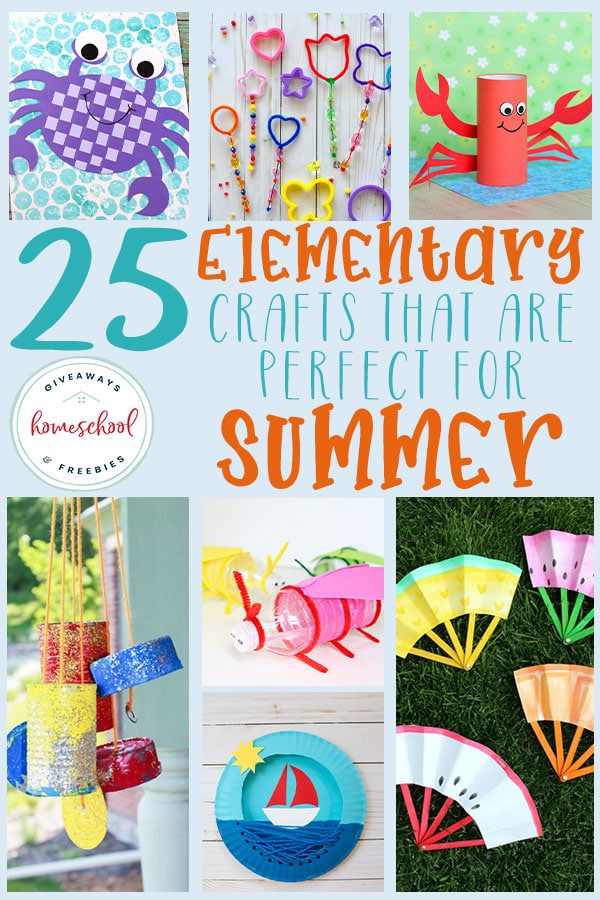 """Do your kids love crafts? Are you tired of hearing """"I'm bored!"""" all summer long? Try crafts! These Summer Themed crafts are a great way to curb the boredom and give them a way to explore their imaginations! #summer #elementary #crafts #hsgiveaways"""