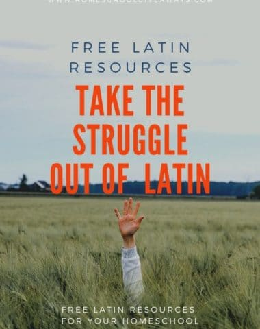 image of hand raised in crassy vield with text overlay Free Latin Resources for Your Homeschool: Take the Struggle Our Of Latin. from www.HomeschoolGiveaways.com