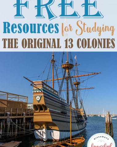 Are you studying about the Original 13 Colonies this year? Check out these FREE resources including printables, online studies, virtual field trips & books to create a unique and fun history study for your homeschool. #history #colonies #colonialtimes #hsgiveaways