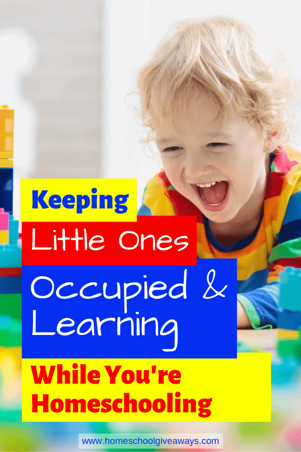 How to keep your little ones out of trouble and learning new things while you're homeschooling your big kids. #preschool #homeschooltips #homeschooling