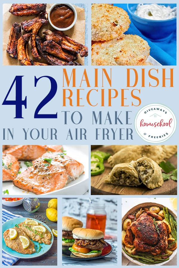 Whether you want or need to save time, you're looking for some healthier options to fried foods or just have a new-found love for all things air fried, you'll love these recipes! Never be late again with these air fryer main dish recipes! #airfryer #airfried #recipes #hsgiveaways
