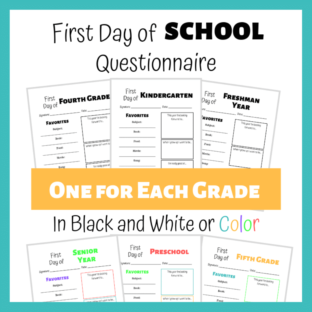 Fun questions to ask your kids on the first day of school. #firstdayofschool #backtoschool #homeschool
