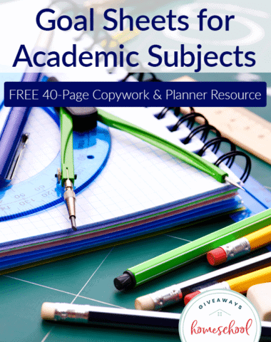 FREE Copywork & Goal Sheets for Academic Subjects (Great for Planners!)