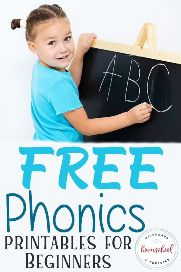 young girl writing ABC on chalkboard with overlay - Free Phonics Printables for Beginners