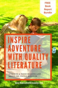 image of woman dressed in shakespearean costume reading to small boy while sitting ont he grass. with text overlay: Inspire Adventure with Quality Literature and get your Free Book Report Bundle from www.HomeschoolGiveaways.com