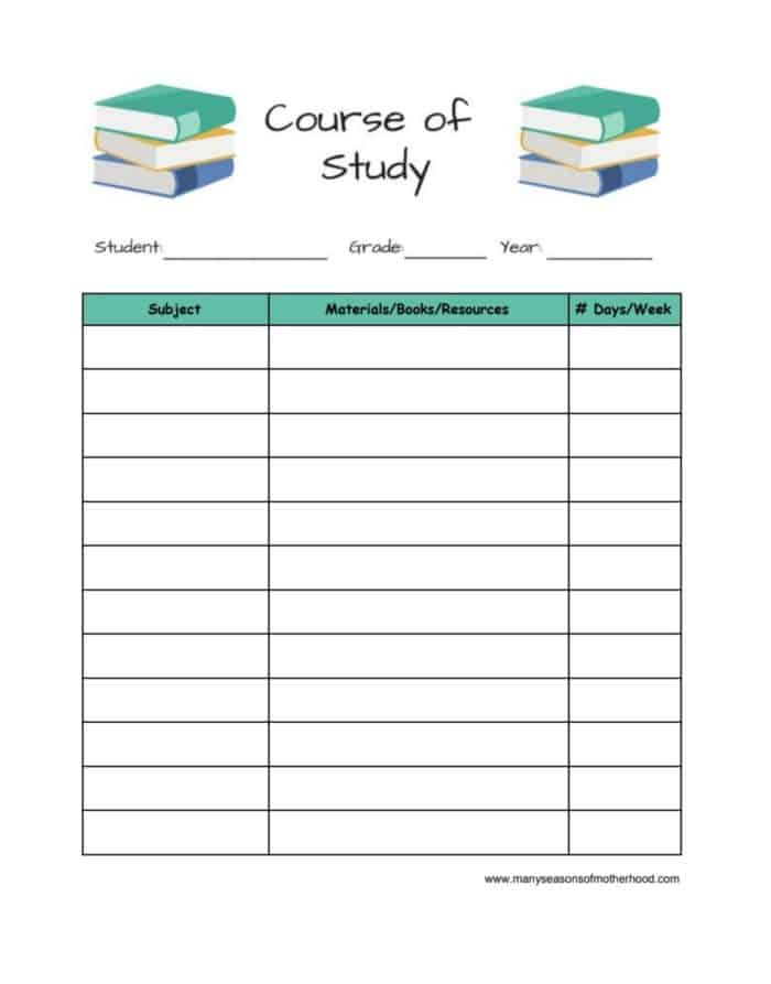 Make a course of study for each of your children to help you plan your overall year. #homeschool