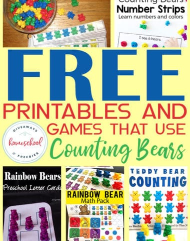 If you're working on counting with your little ones, you will love these FREE printables and games to do with Counting Bears. They are quick and easy to put together and the counting bears are fun for little ones too! #counting #preschool #preschoolers #hsgiveaways