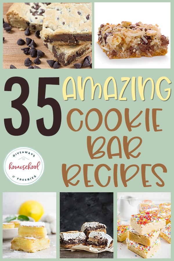 Cookie bars are my favorite starter recipe for kids. It is so easy to create the base and then they can customize it with their own toppings and extras. Check out these delicious recipes to get you started! #recipes #cookiebars #dessert #hsgiveaways