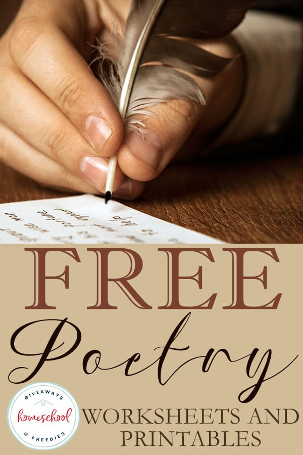 These free poetry worksheets and printables are perfect for a poetry unit or any poetry study in your homeschool. #poetry #homeschoolprintables #poetrystudy