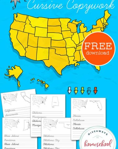 fifty states map and worksheet pages