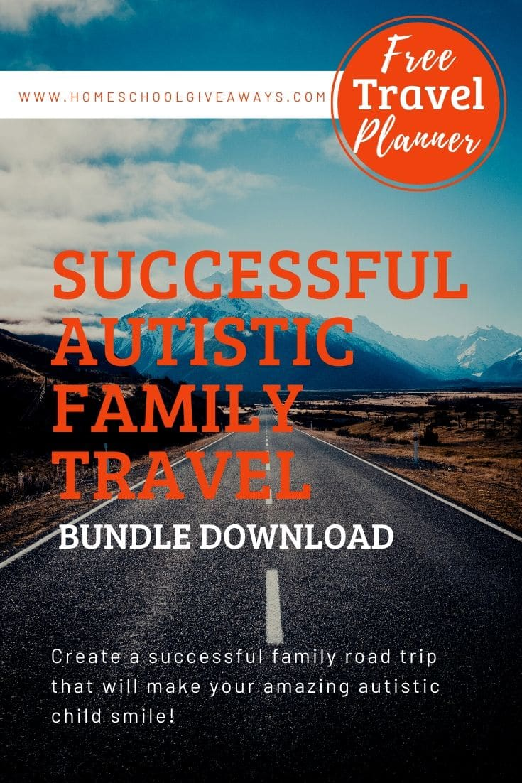 image of highway with text overlay: FREE Travel Planner for Successful Autistic Family Travel Bundle download. www.HomeschoolGiveaways.com