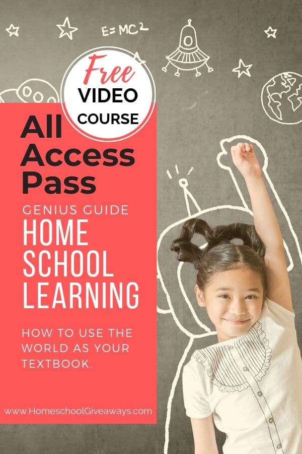 image of gilr with science symbols with text overlya FREE Video Course. All Access Pass. Genius Guide to Homeschool Learning