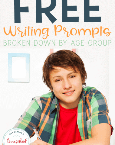 If you have a child that struggles with what to write you will love these FREE Writing Prompts broken down by age group. #freewritingprompts #homeschoolwriting #hsgiveaways