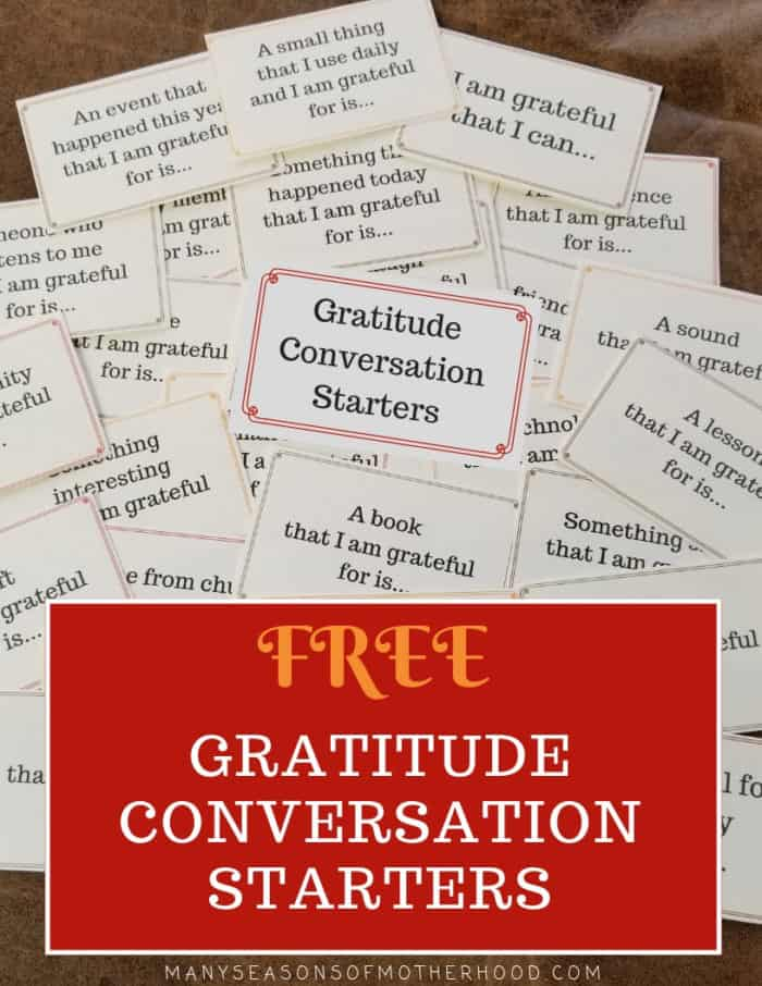 Develop a spirit of gratitude in your home with these gratitude conversation starters. #Thanksgiving #family