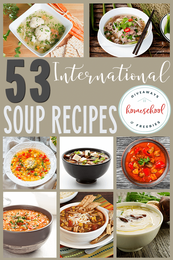 Cooler weather calls for warm, comforting soups! Mix it up this year with some new flavors from around the world with these International Soup Recipes! #recipes #soups #cooking #hsgiveaways
