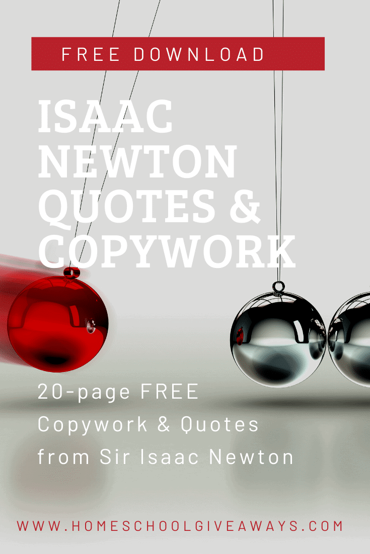 image of pendulum marbles with text overlay Isaac Newton Quotes & Copywork. Free Download on www.homeschoolgiveaways.com