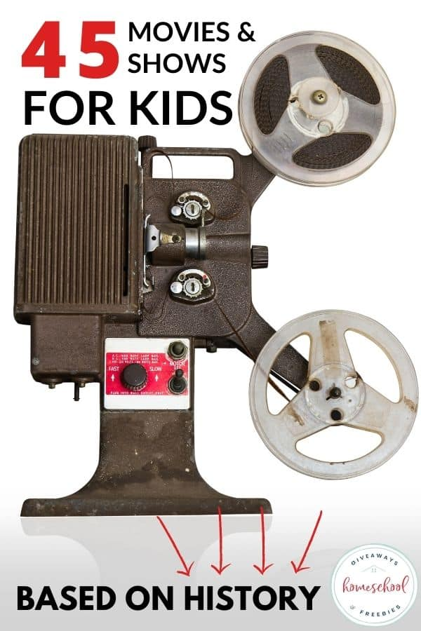old time movie reel with text 45 Movies & Shows for Kids Based on History