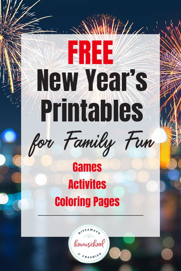 fireworks background with text overlay Free New Year's Printables for Family Fun