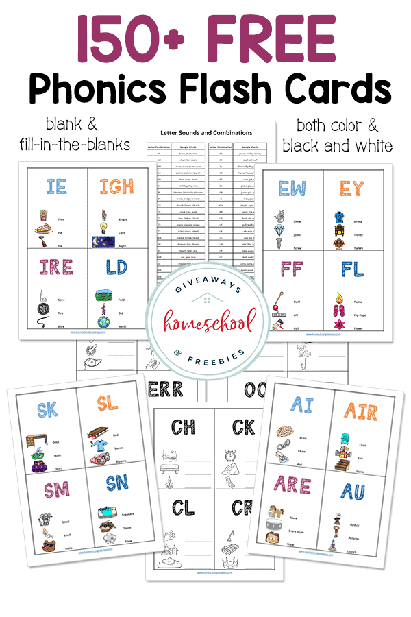 sample pages of phonics flash cards
