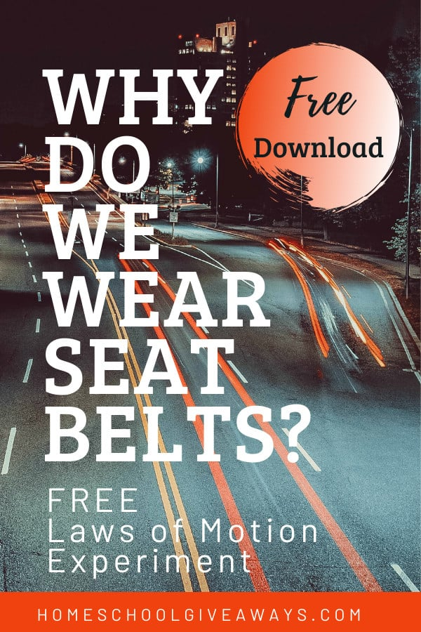 freeway at tnight with text ooverlay Free Laws of Motion Experiments Download for Why do we wear seat belts? On ww.HomeschoolGiveaways.com