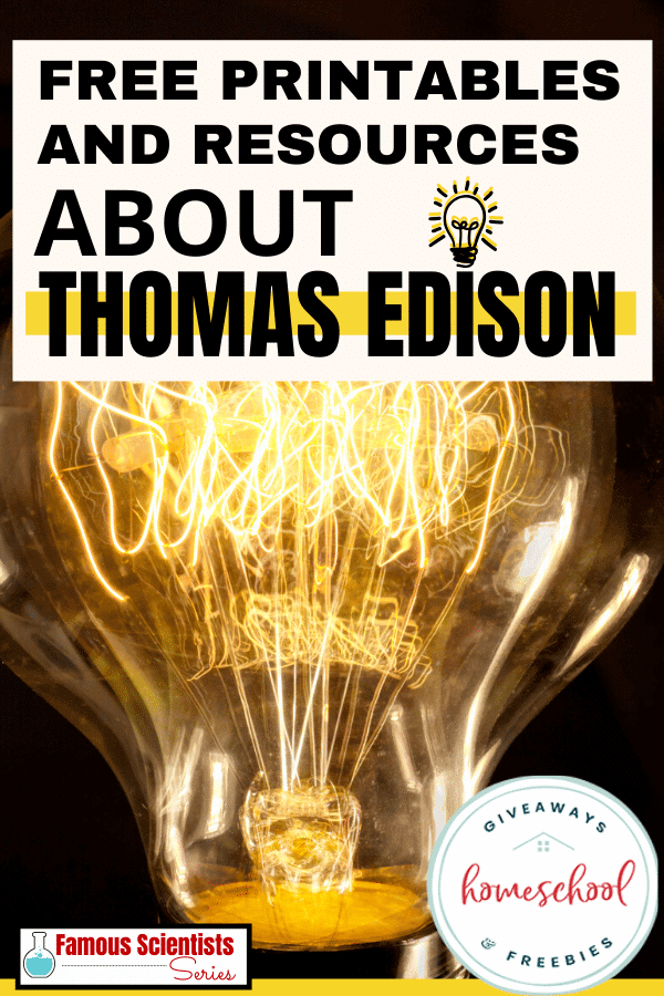 vintage style light bulb with text overlay Free printables and resources about thomas edison.