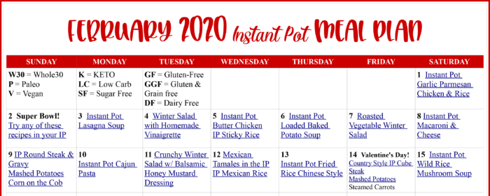 February 2020 Instant Pot Meal Plan snapshot