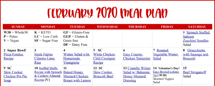 February 2020 Meal Plan snapshot