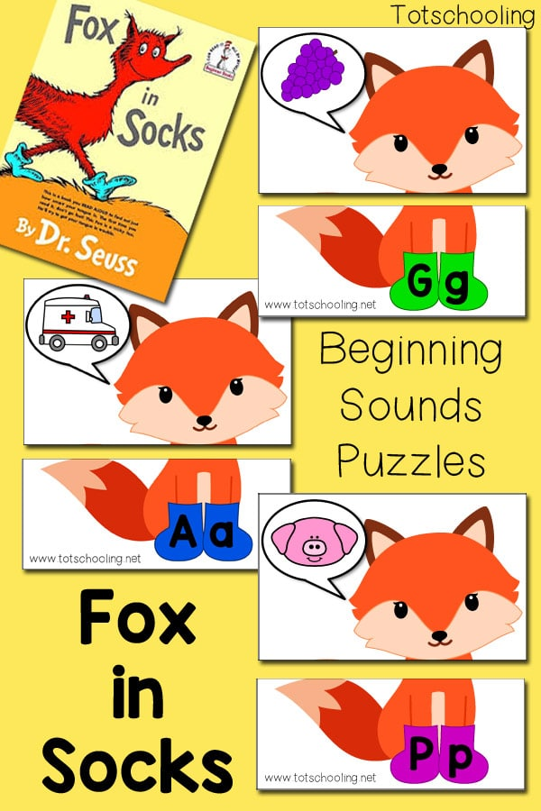 fox in socks themed beginning sounds puzzles