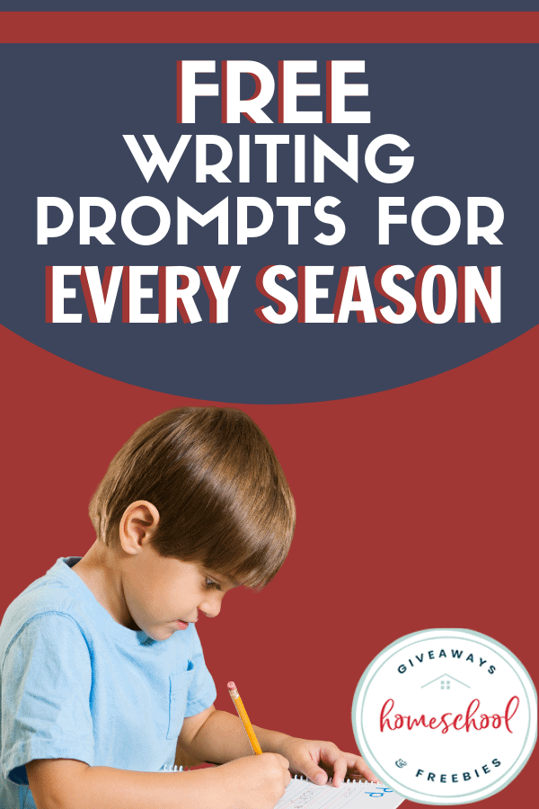 child writing on paper with overlay - Free Writing Prompts for Every Season