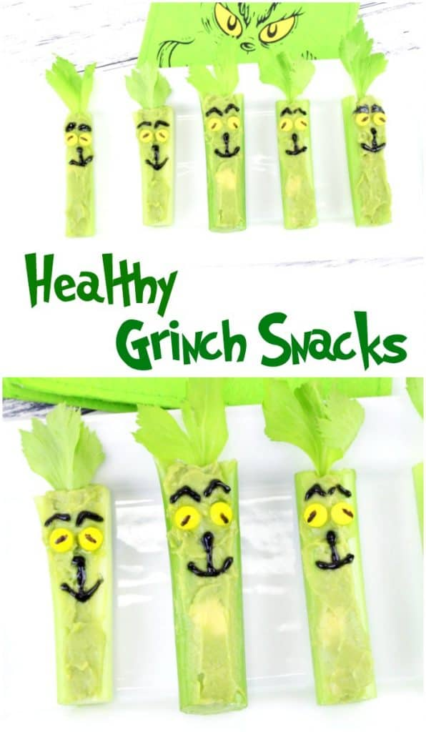celery stuffed with avocado for Grinch snacks