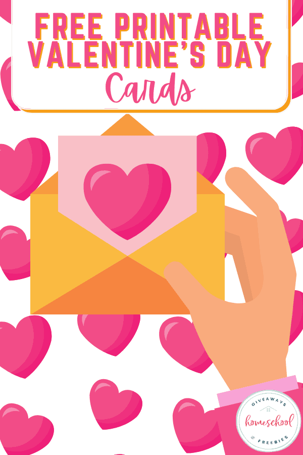 free printable valentine's day cards text with image of hand holding a heart card and hearts.