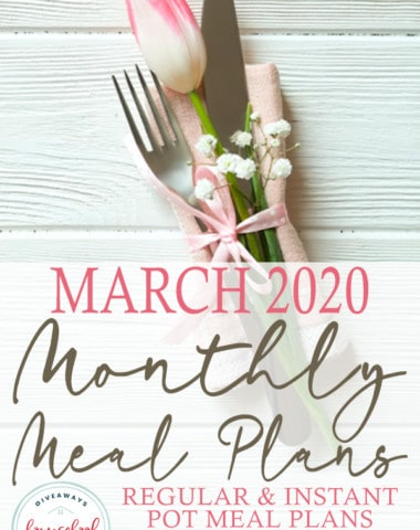 """spring table setting on white board background with overlay """"March 2020 Monthly Meal Plans"""""""