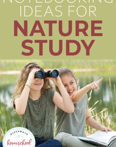 """Two girls studying nature with overlay """"Notebooking Ideas for Nature Study"""""""
