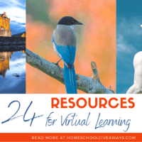 collage of castle, bird & sculpture with text overlay. 24 Resoruces for Virtual Learning. Read more at www. HomeschoolGiveaways.com