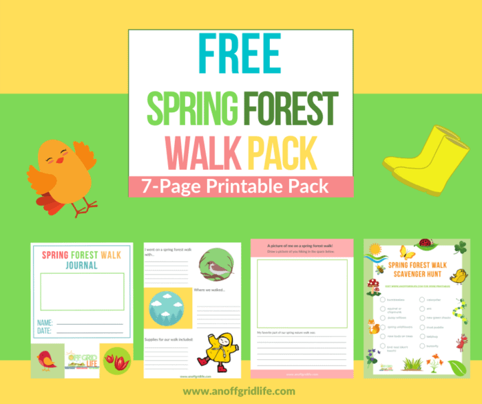 """Text Overlay """"Free Spring Forest Walk Pack"""" with thumbnails of printable pages from nature journal and scavenger hunt"""