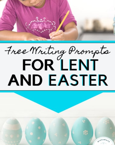 free writing prompts for lent and easter text with girl with a lencil and easter eggs.