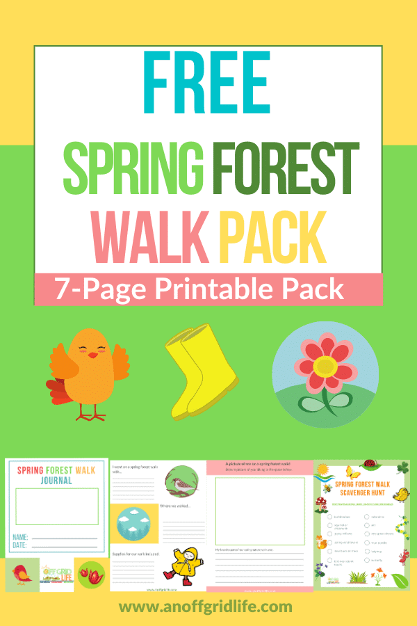 Spring Forest Walk Pack text overlay on graphics of robin, rubber boots and spring flowers plus four page thumbnails of printables